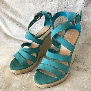 Teal Strappy Faux Suede Espadrilles Wedges